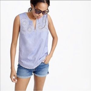 J. Crew Tank Top Embroidered Circles Blue Cotton